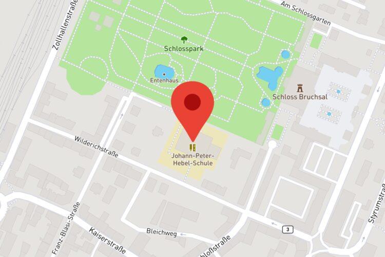 Lage der Schule (© Mapbox, © OpenStreetMap)